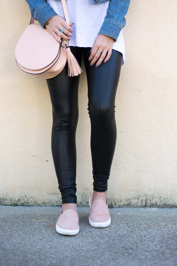 How To Style Faux Leather Leggings For Spring - Chasing Cinderella