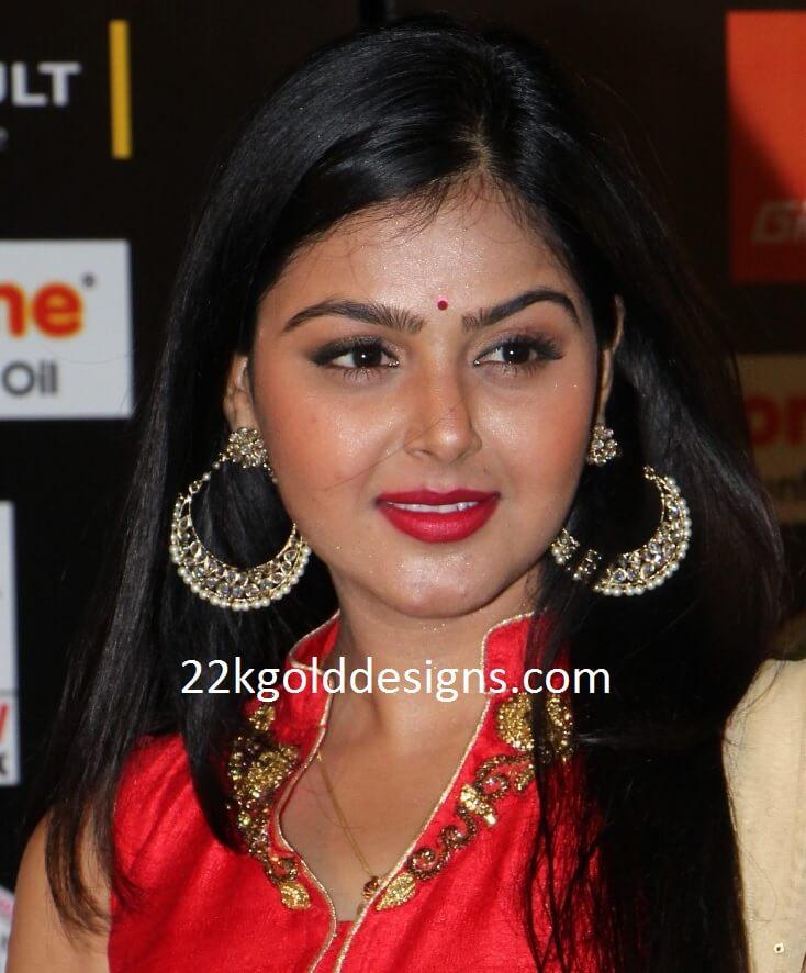 Monal Gajjar in Hoop Earrings
