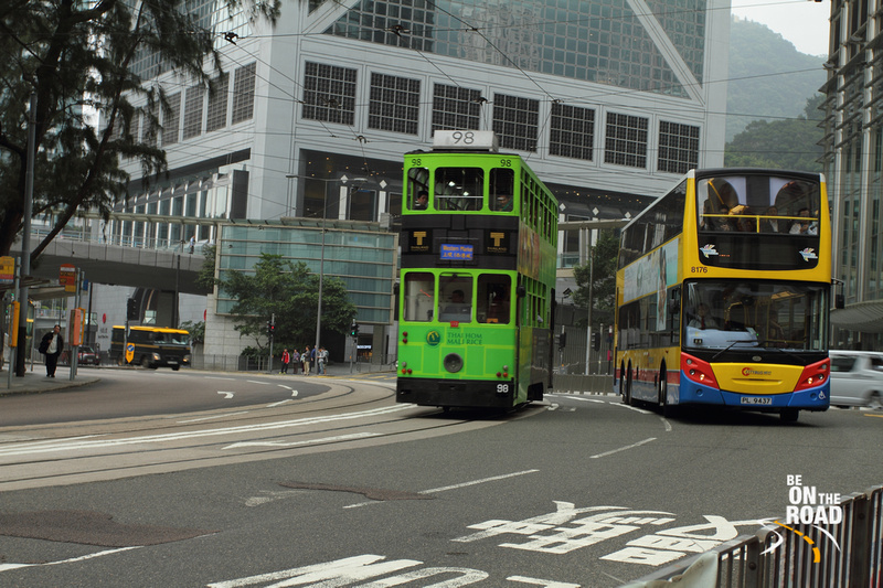 Traveling by the iconic tram in Hong Kong