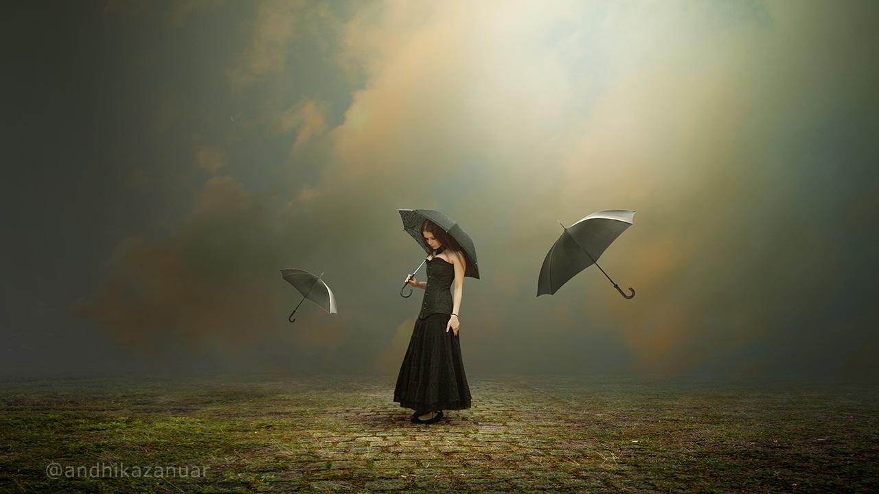 Flying Umbrella Photoshop Manipulation Tutorial Fantasy
