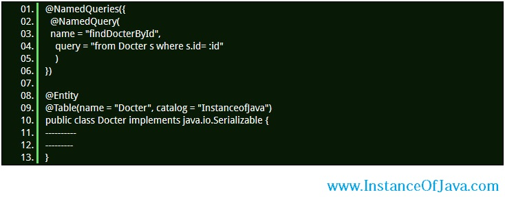 Hibernate Named Query example join