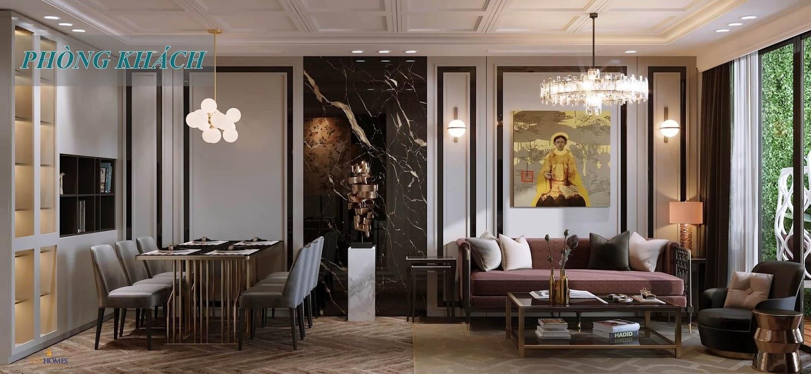 Phòng khách căn hộ mẫu Vinhomes Sportia