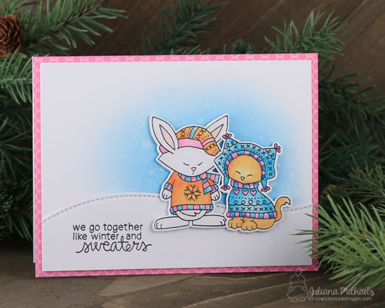 Cat and Bunny in Sweaters Card by Juliana Michaels | Sweater Weather Stamp set by Newton's Nook Designs #newtonsnook