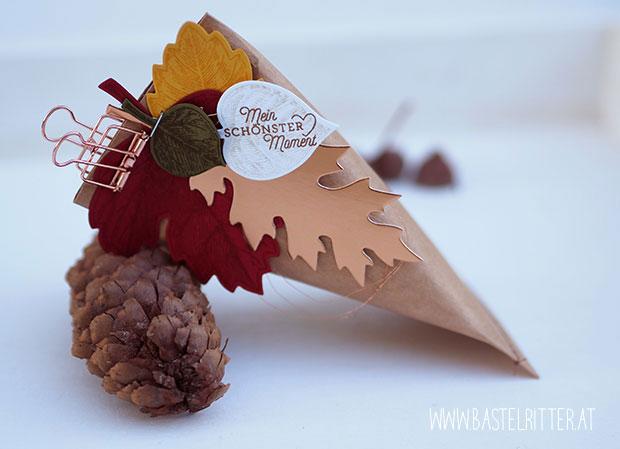 Herbst Vintage Leafs kupfer copper Stampin up Cest la Schnipselritter Bastelritter Sour Cream Tuete