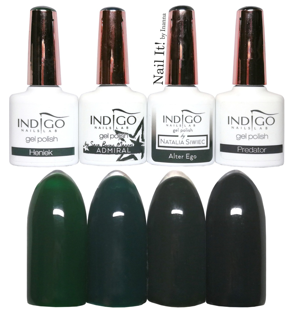 COMPARISON - Indigo Nails dark green gel polishes (Heniek, Admiral, Alter Ego, Predator)