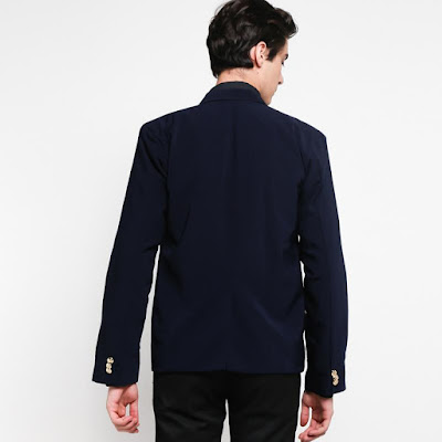 Grosirjaket 2 Button Jas Blazer Pria - Navy Blue