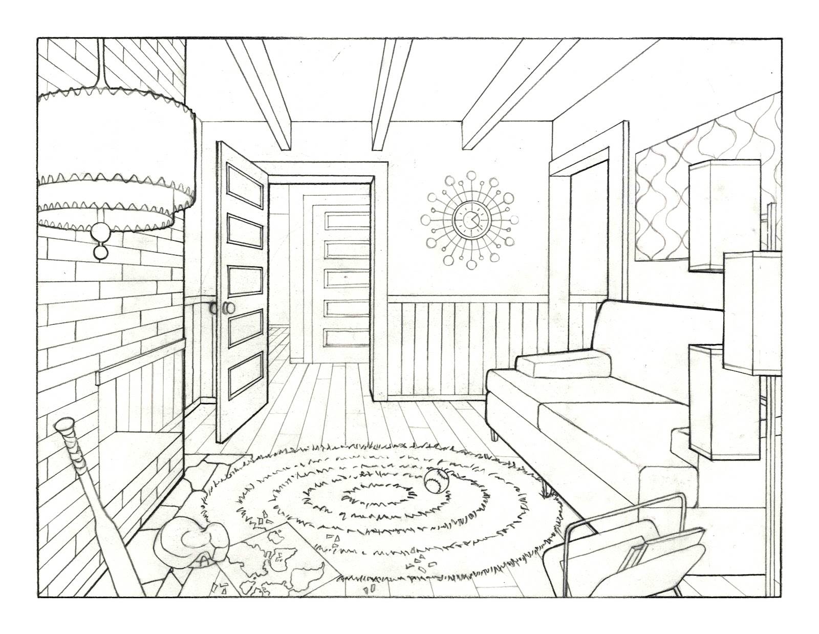 Jenn johnson 39 s art blog 1960 39 s living room - How to draw a living room in perspective ...