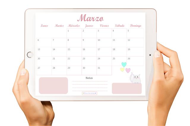 Calendario descargable freebie marzo 2017  Días de scrap