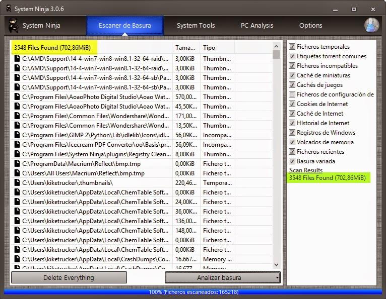 Potente limpiador de temporales y archivos basura para tu PC