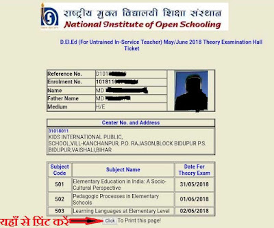 ADMIT CARD/HALL TICKET
