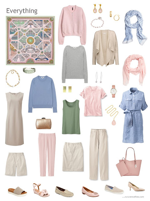 a travel capsule wardrobe in beige, pink, blue and green