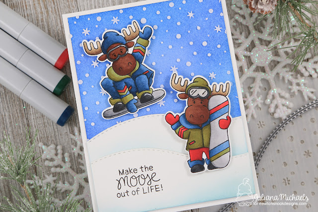 Moose Out of Life Card by Juliana Michaels featuring Newton's Nook Designs Moose Mountain stamp set.