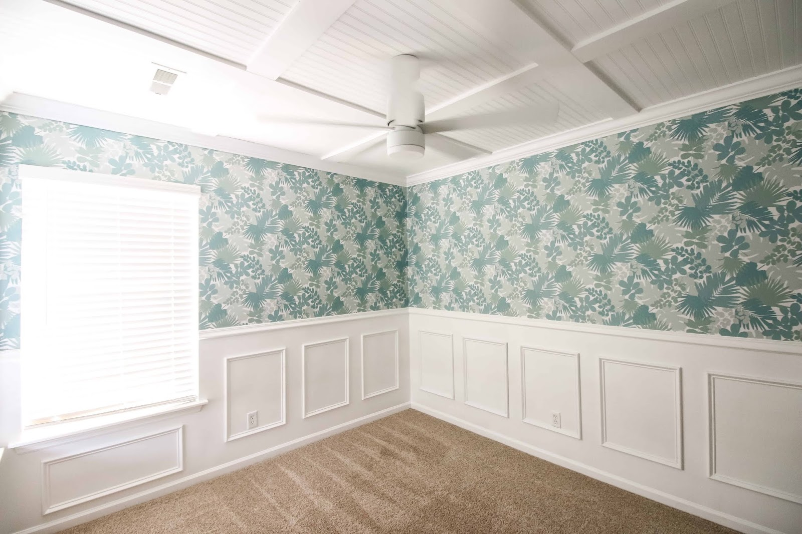DIY coffered ceiling with beadboard