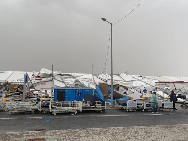 لحظة انهيار مستشفى ميداني لمرضى كورونا في قطر وسط تكتم إعلامي شديد
