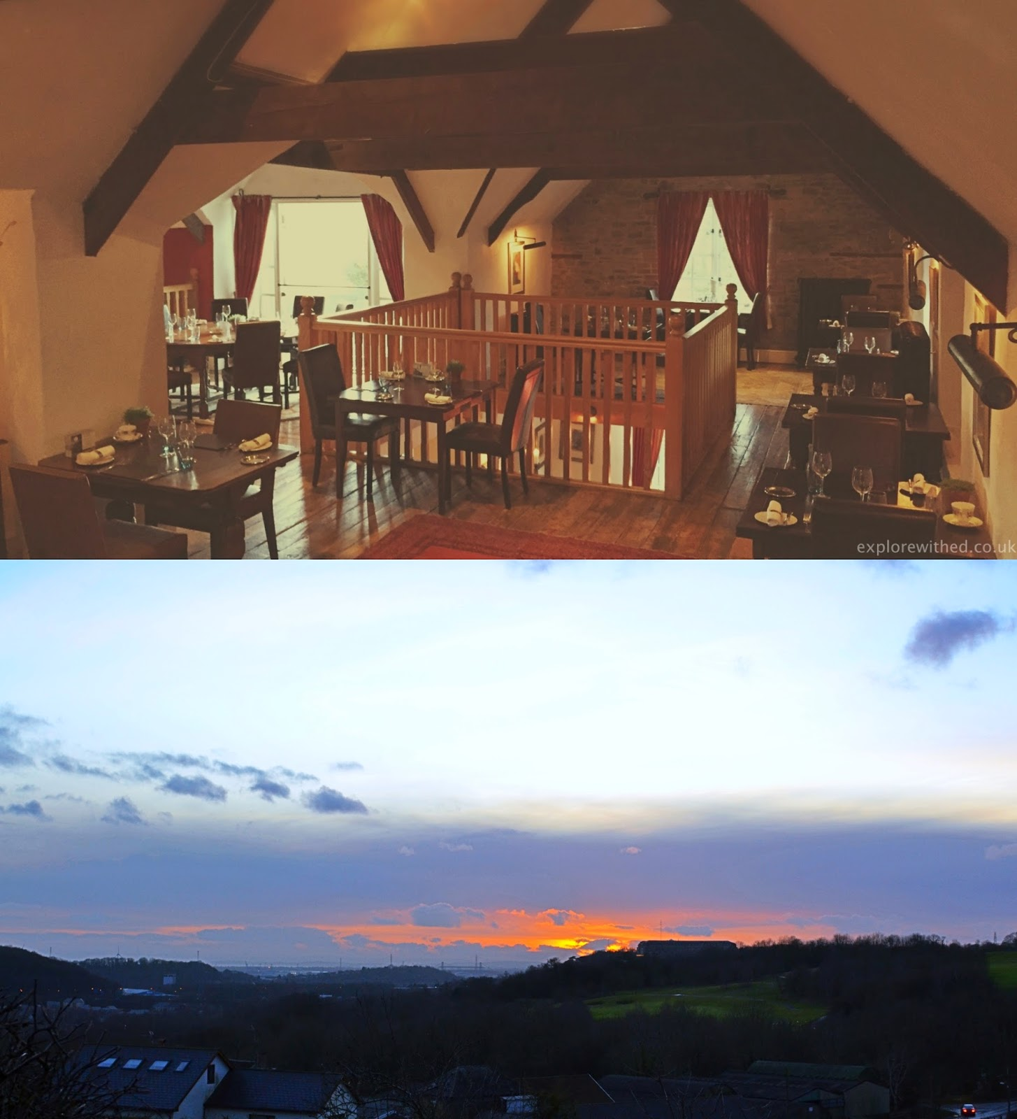 View towards Newport during sunset, Newbridge on Usk interior