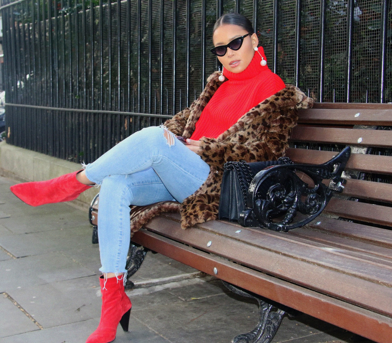 red boots, newlook, lolashoetique, denim, leopard print coat, h&m, red