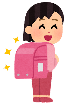 ピンクのランドセルを背負う小学生のイラスト(女の子)