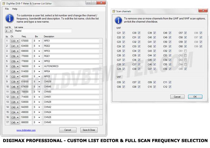DVB-T Meter & Scanner / DVB-T Monitor Software