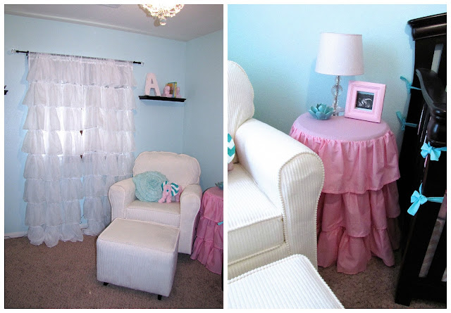 white ruffle curtains for girl nursery