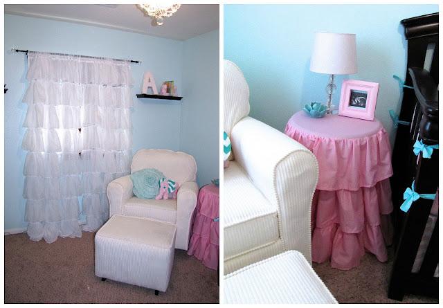 white ruffle curtains for girl nursery