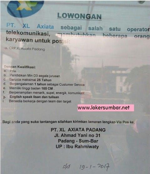 Lowongan Kerja di Padang – PT.XL Axiata – Customer Service (Penutupan 19-1-2017)