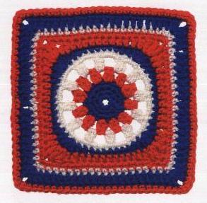 Patrón #1580: Granny Explosión Patriótica a Crochet