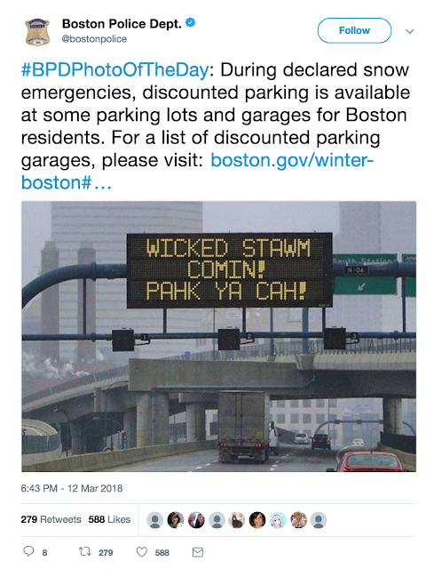 - Boston PD tweet March 12 2018 wicked stawm comin!