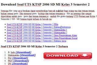 Soal UTS KTSP 2006 SD MI Kelas 3 Semester 2