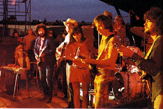 Great Speckled Bird performing (probably doing C.C. Rider) in Calgary, July, 1970 on the legendary Festival Express tour with special guests. L to R: Buddy Cage, Jerry Garcia, Ian Tyson, Sylvia Tyson, Jim Colegrove, Delaney Bramlett.