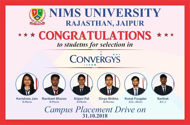 Placement in Nims University Rajasthan, Jaipur