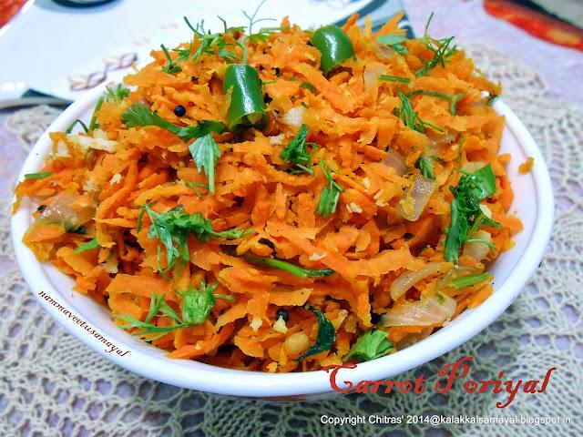 Carrot Poriyal [ Carrot Stir Fry ]