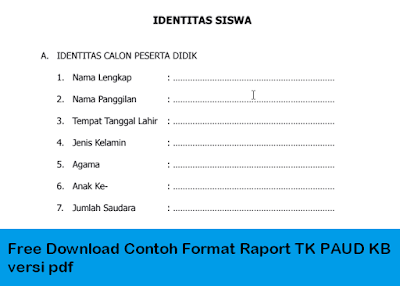 Free Download Contoh Format Raport TK PAUD KB versi pdf