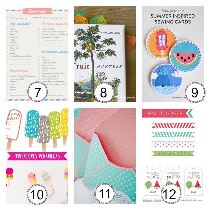 imprimibles gratis vernao: planing de vacaciones, marca-páginas, toppers, invitaciones, sobres, etiquetas