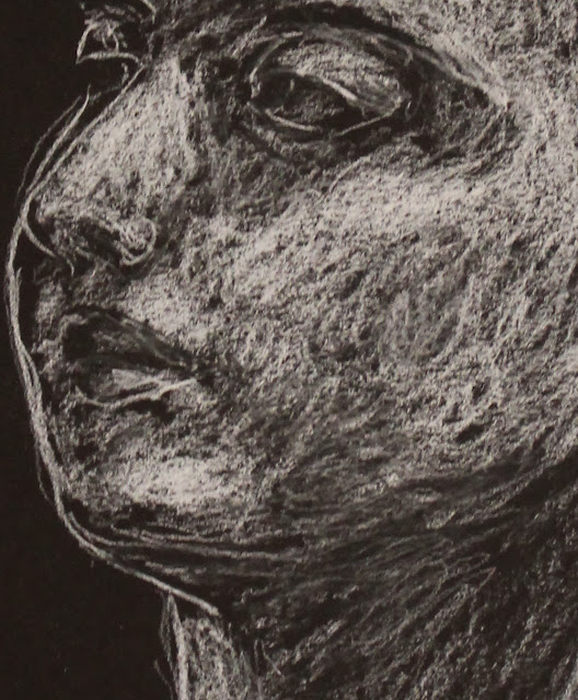 face, head, sarah, myers, art, arte, drawing, sketch, dibujo, dessin, kunst, conte, charcoal, white, black, paper, dark, woman, expression, mouth, eyes, nose, bright, highlights, shading, glow, technique, pencil, artist, lines, design, figurative, contemporary, modern, detail, close-up