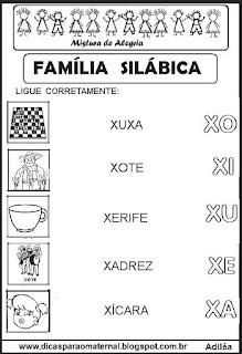 Famílias silábicas alfabetização letra X