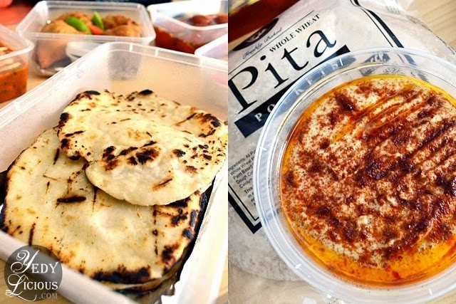 Butter Naan and Pita With Hummus at Green Dot Vegetarian Catering and Food Delivery Service Manila