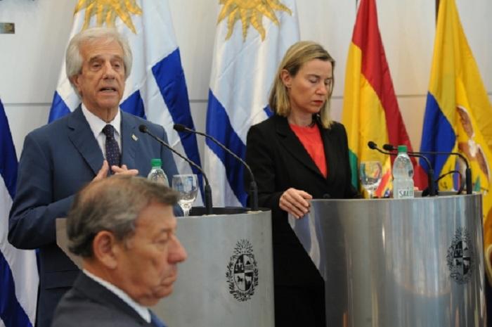 Tabaré Vázquez y Federica Mogherini en conferencia en Montevideo / PRESIDENCIA URUGUAY