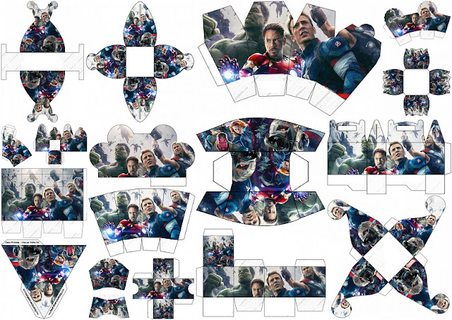 Vengadores :Cajas para Imprimir Gratis.