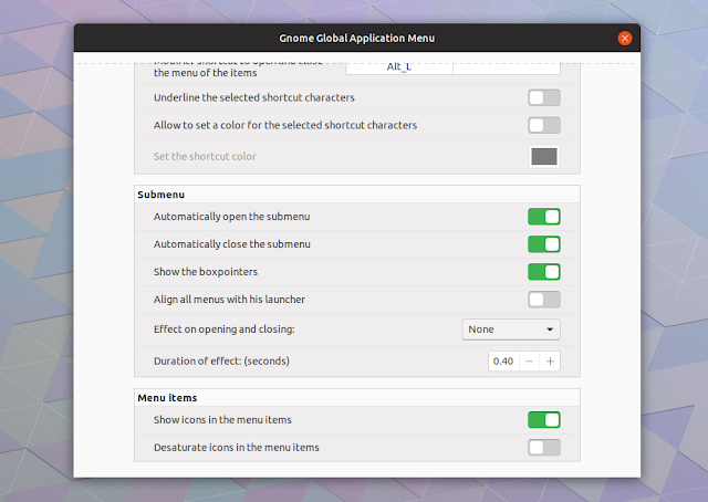 Gnome Global AppMenu settings