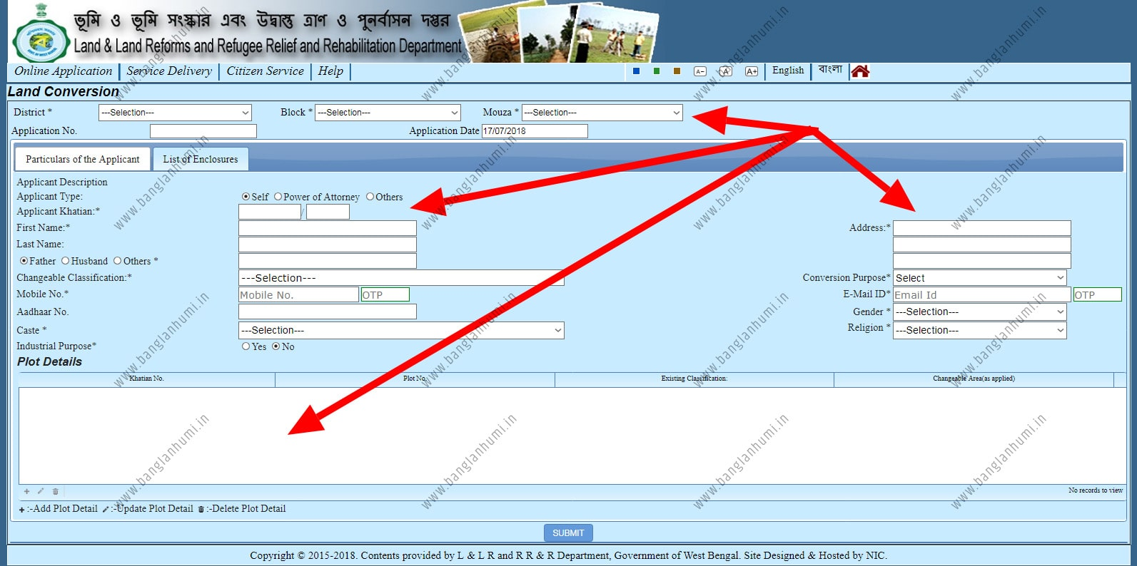 Banglarbhumi Online Conversion Application of West Bengal Land Record