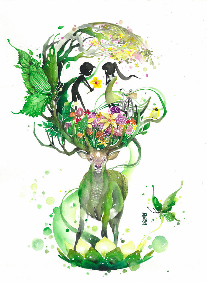 15-Lovely-Spring-Luqman Reza jongkie-Painting-Fantasy-worlds-with-Flowing-Watercolor-Animals-www-designstack-co