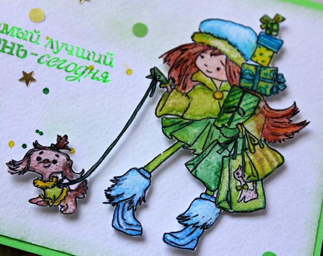 открытка с девочкой