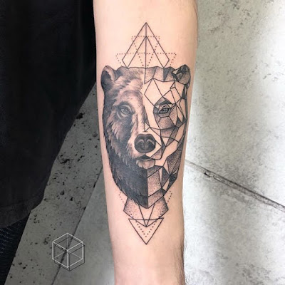 geometric bear tattoo for girl