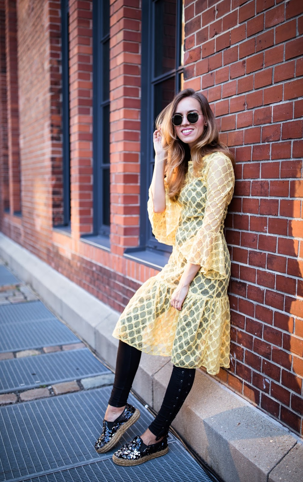 yellow lace dress outfit street style