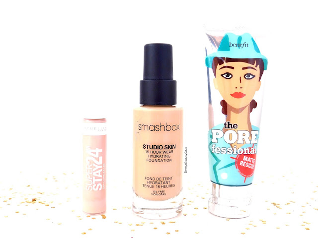 Smashbox Studio Skin Foundation, Benefit Gel Matte Rescue, Maybelline Super Stay