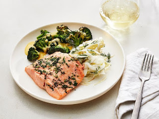 Warm Fennel Salad with Oven-Baked Salmon and Pork Tenderloin with Warm Feta Cheese Salad