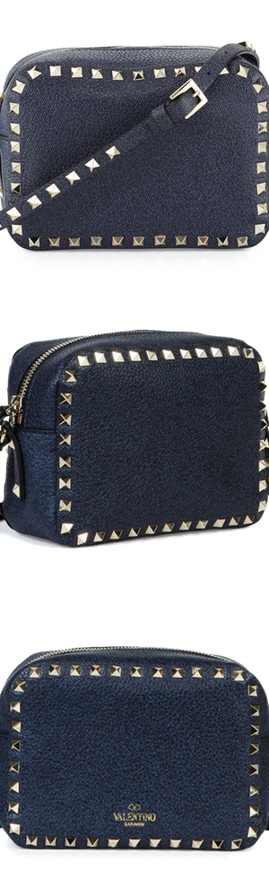 Valentino Rockstud Leather Camera Crossbody Bag, Denim Blue