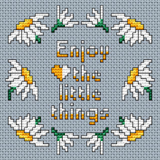 free cross stitch pattern of daisies and text