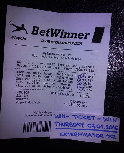 WIN TICKET FROM YESTERDAY THURSDAY 07.01.2016