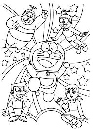 sketsa Doraemon dan teman-teman